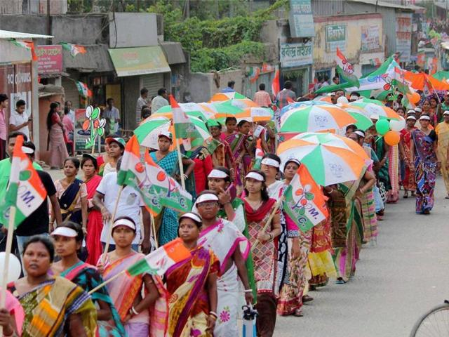 Trinamool Congress  supporters during an election campaign rally.