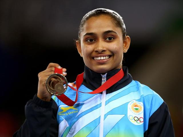 A file photo of Dipa Karmakar of India during the medal ceremony of the Glasgow 2014 Commonwealth Games.