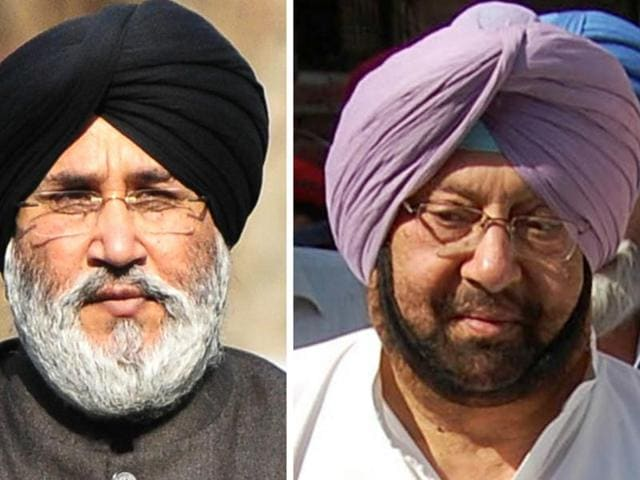 SAD secretary Daljit Cheema (left) reacts to Punjab Congress president Capt Amarinder Singh's (right) remarks that Shiromani Akali Dal will completely disintegrate before the 2017 assembly elections.