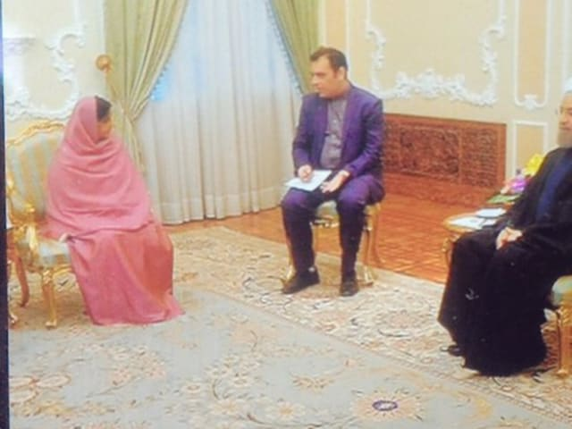 """""""With HE President Hassan Rouhani."""" Sushma Swaraj tweeted on Sunday."""