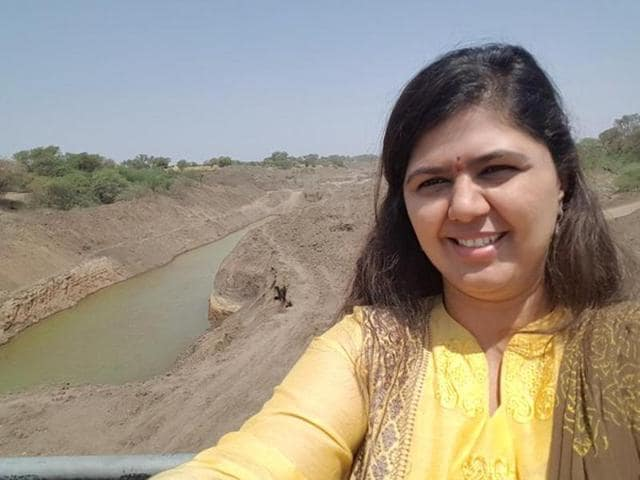 Pankaja Munde shared her selfies in a series of tweets on Sunday while reviewing water conservation efforts in Latur.