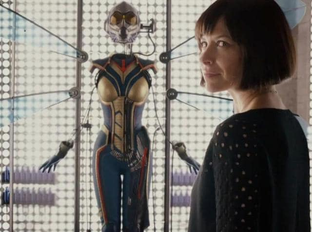 Evangeline Lilly gets a glimpse of her future in a still from Ant-Man.