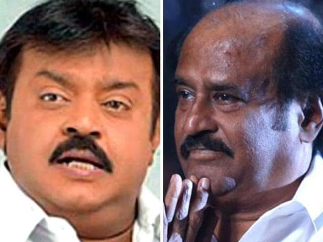 Captain Vijayakanth irked a number of Rajini fans during his campaign rallies by his comments over the Superstar.(File photo)