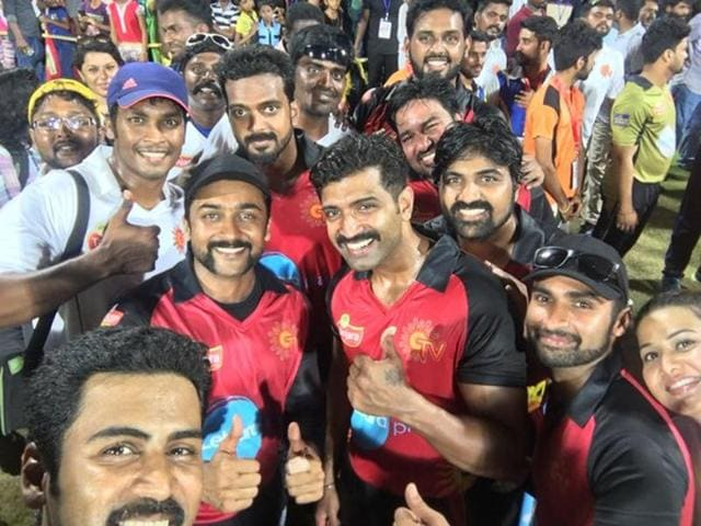 Actor Suriya-led Chennai Singhams and Jeeva's Tanjore Rhinos contested for the title with the former emerging the winners.