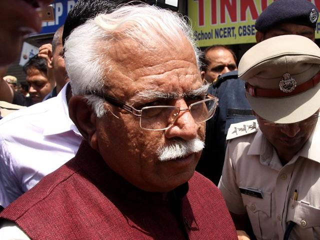 Haryana chief minister Manohar Lal Khattar in Rohtak on Monday.