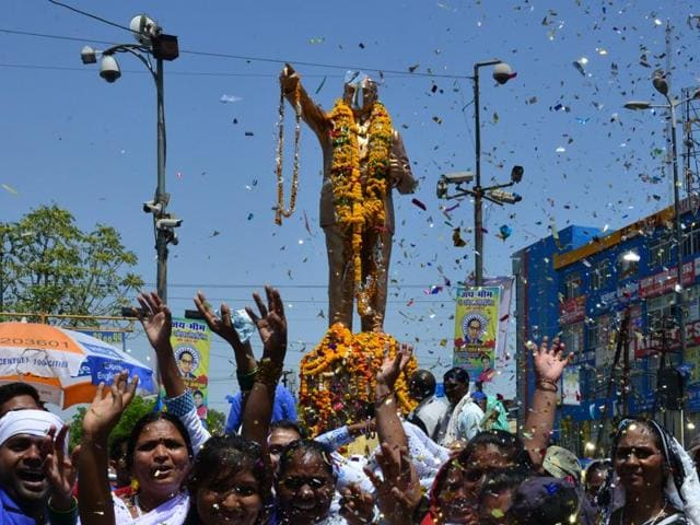 Followers taking out a procession to celebrate 125th birth anniversary of B R Ambedkar in Bhopal on Thursday, April 14, 2016.