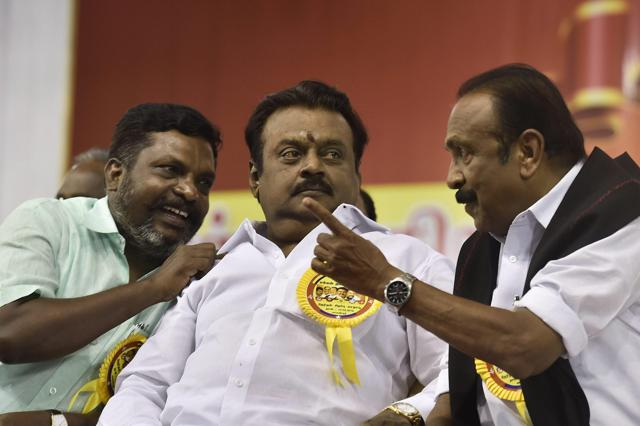 DMDK led by actor Vijayakanth and People Welfare Front leaders Vaiko and Thol Thirumavalavan .