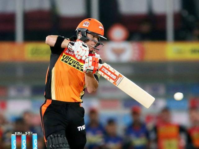 Sunrisers Hyderabad captain David Warner plays a shot against Mumbai Indians during Indian Premier League.