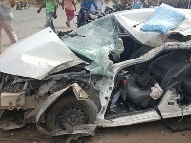 The badly damaged car after the mishap in Ludhiana.