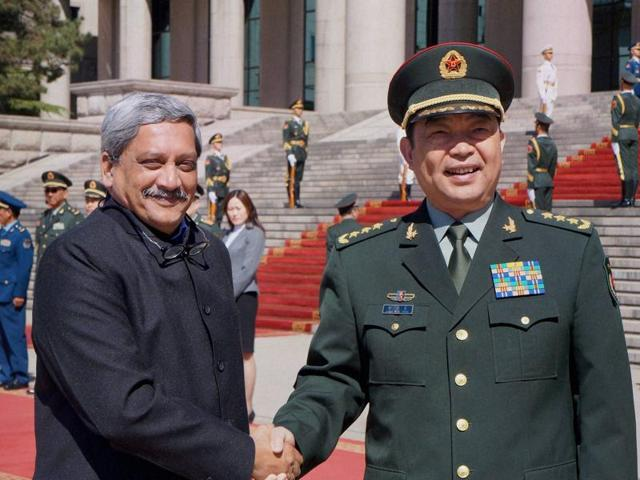 Defence minister Manohar Parrikar being received by his Chinese counterpart General Chang Wanquan at the PLA headquarters in Beijing on Monday.
