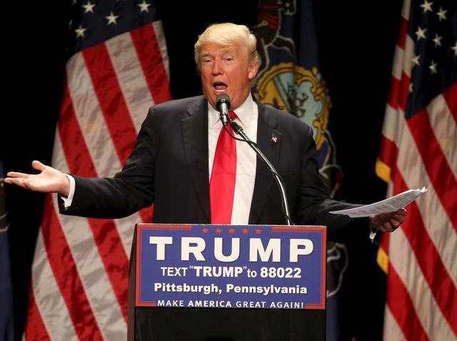Republican US presidential candidate Donald Trump speaks at a campaign rally in Pittsburgh, Pennsylvania.