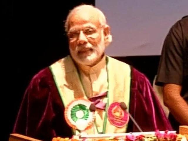 PMNarendra Modi at the convocation ceremony of Shri Mata Vaishno Devi University, Katra.
