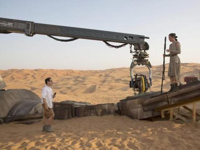 JJ Abrams and Daisy Ridley on the sets of Star Wars: The Force Awakens.