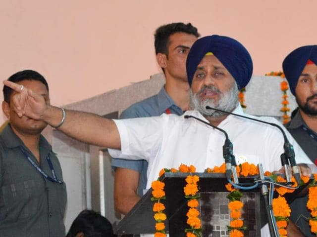 Deputy chief minister Sukhbir Singh Badal in Pathankot on Tuesday.