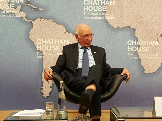 "Sartaj Aziz delivered a lecture on ""A Strategic Vision of Pakistan's Foreign Policy"" at Chatham House, London, on Monday."
