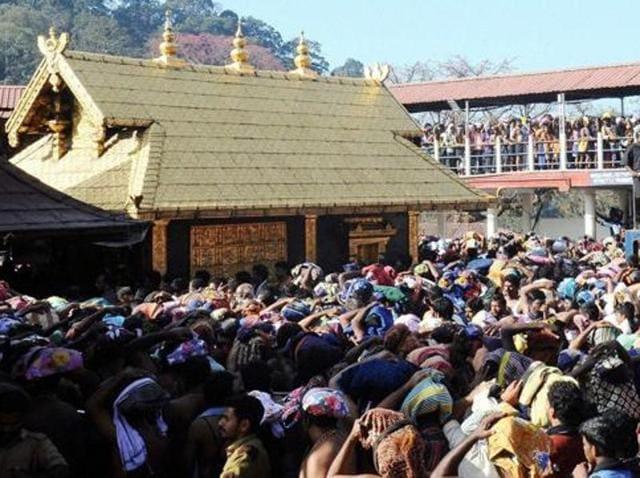 Hundreds of Ayyappa devotees gather outside Sannidanam in Sabarimala.