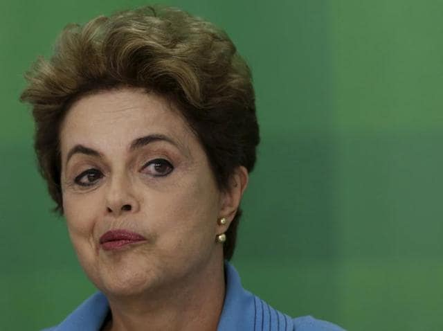 Brazil's President Dilma Rousseff reacts during a news conference at Planalto Palace in Brasilia, Brazil April 18, 2016.