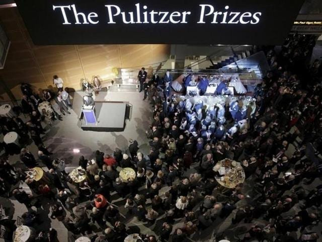 Pulitzer Prize recipients gather for a celebration honouring the centennial of the Prize at the Newseum in Washington DC on January 28, 2016.