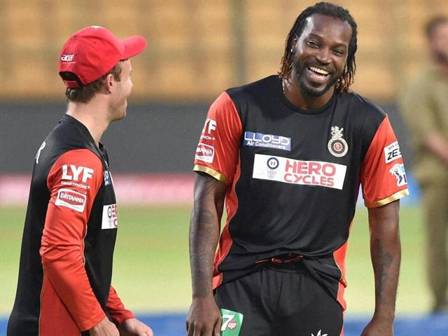 Royal Challengers Bangalore Chris Gayle and AB De Villiers during a training session ahead of the IPL.