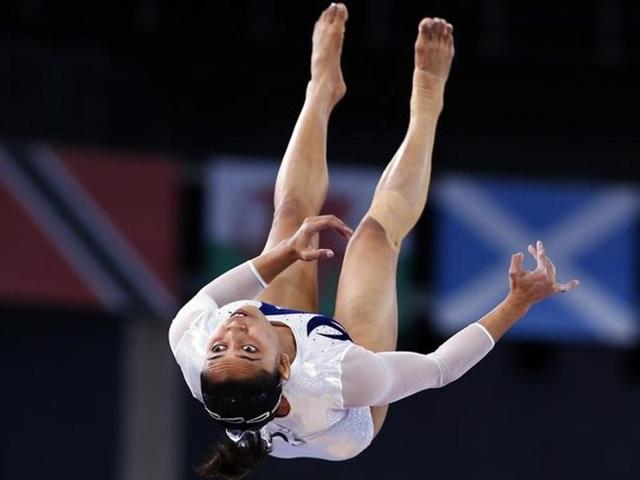 Dipa Karmakar performs during the women's gymnastics vault apparatus final at the 2014 Commonwealth Games in Glasgow, Scotland.