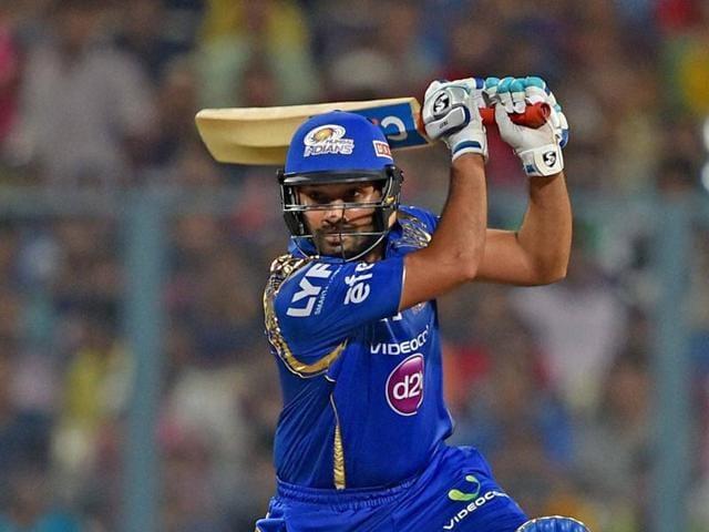 Mumbai Indian batsman Rohit Sharma plays a shot during IPL Match against KKR in Kolkata on Wednesday.