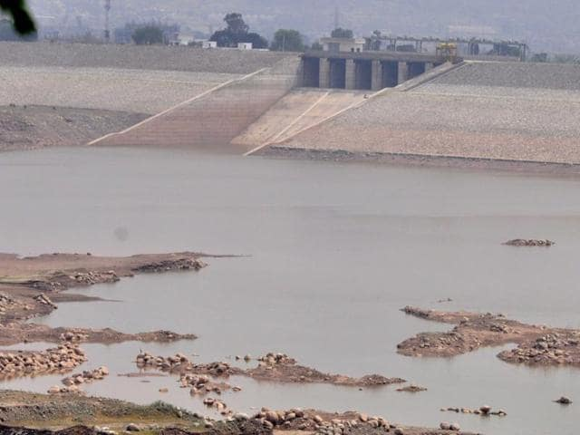 The drying Kaushalya Dam in Panchkula.