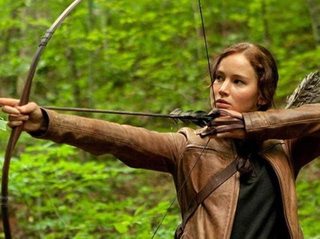Jennifer Lawrence stars as Katniss Everdeen in The Hunger Games.
