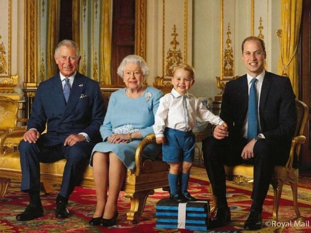 A specially commissioned stamp sheet of four generations of the royal family.