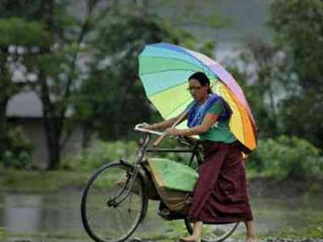 Heavy rains hit many parts of Manipur on Tuesday.