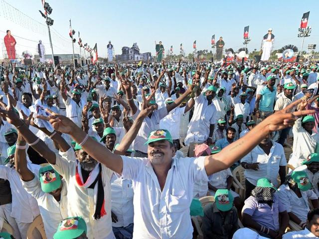 Supporters of Tamil Nadu chief minister and AIADMK Supremo J Jayalalithaa at an election campaign.