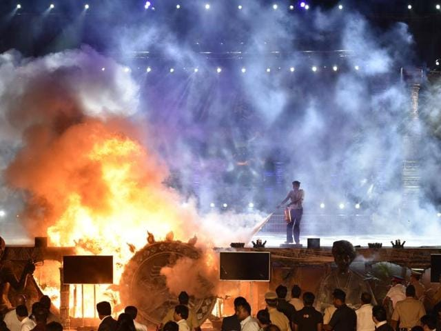 The stage goes up in flames during a Make in India event at Girgaum Chowpatty on February 14.