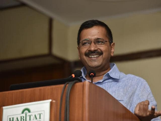 "Delhi Chief Minister Arvind Kejriwal has asked bureaucrats working with his government not to ""play politics"" with elected representatives, saying it hampers the government's functioning and ""downgrades"" its credibility. (Photo by Virendra Singh Gosain/ Hindustan Times)"