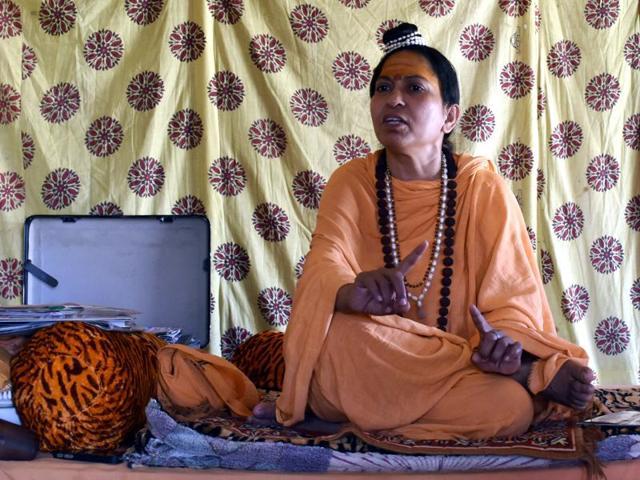 Jagadguru Trikal Bhawanta at her ashram in Ujjain on Tuesday.