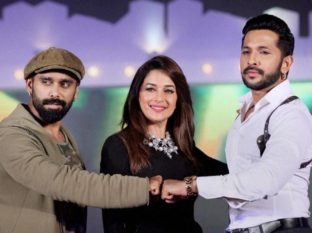 Choreographers Terence Lewis (left), Bosco Martins (right) and actor Madhuri Dixit announce a new dance show in Mumbai on Tuesday.