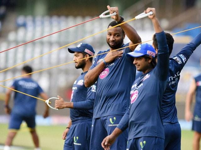 Mumbai Indians' players during the practice session at Wankhede Stadium in Mumbai on Tuesday.