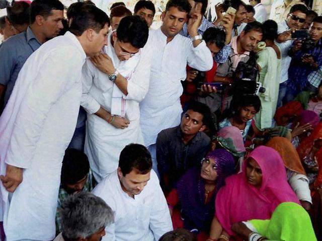 Congress vice president Rahul Gandhi meeting with the family members of Delta Meghwal, a Dalit girl who was found dead under mysterious circumstances recently, at their village in Barmer on Wednesday.