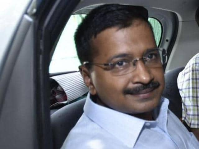 """New Delhi, India- April 13, 2016: Chief Minister of Delhi Arvind Kejriwal has said his government will not allow app-based taxis services to blackmail consumers by overcharging during the second round of traffic restrictions dubbed the """"odd-even.""""(Photo by Sonu Mehta/ Hindustan Times)"""