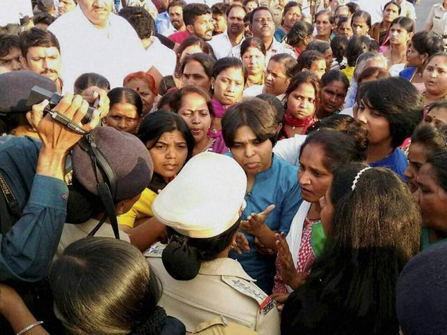 File Photo of Trupti Desai being detained with supporters at village Nandurshingote, about 50 kms from Nashik