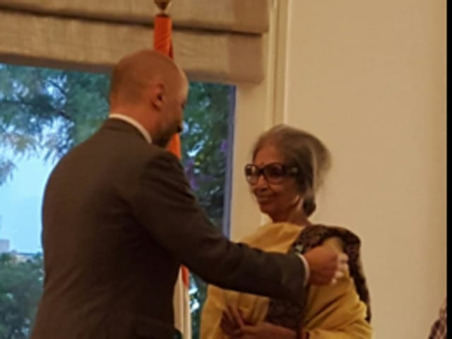 French Ambassador Francois Richier conferred the L'Ordre des Arts et des Lettres (Order of Arts and Letters) on Bhattacharjee at the French Embassy.