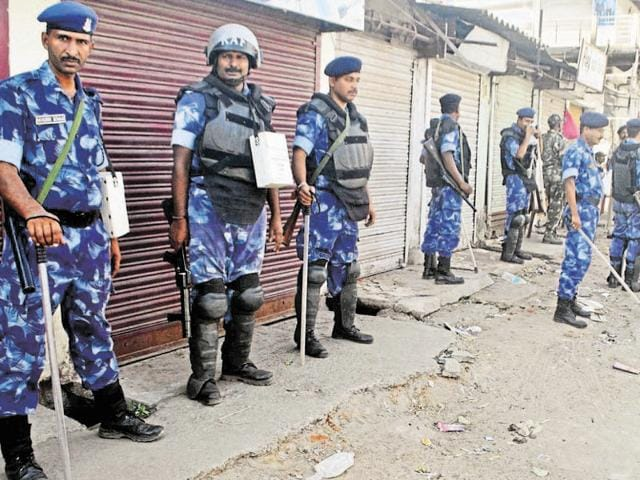 Rapid Action Force personnel deployed to maintain peace in Hazaribagh on Tuesday.
