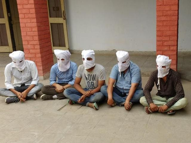 The five accused at the Hisar police station on Wednesday.