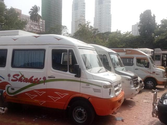 The seized buses have been parked at the RTO in Tardeo.(HT photo)