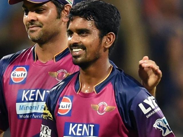 Rising Pune Supergiants M. Ashwin with his team mates celebrates the wicket of Mumbai Indians Shreyas Gopal.