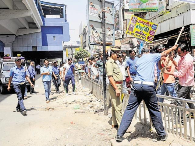 A team from the city police, Noida authority's enforcement wing carried out the exercise on Thursday.
