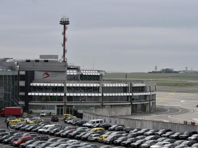 An empty tarmac is pictured at the Brussels Airport as air traffic controllers go on a strike in Zaventem, Belgium.