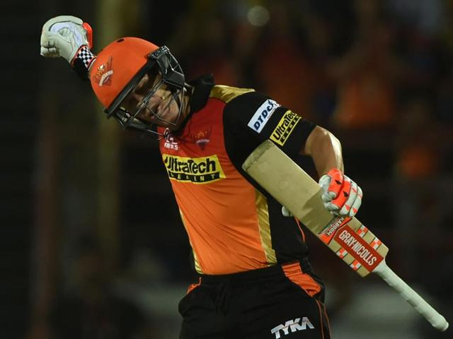 Sunrisers Hyderabad captain David Warner plays a shot against Gujarat Lions.