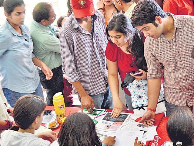 Students at the Delhi University during admissions. The university has 8,000 seats across 66 postgraduate courses.