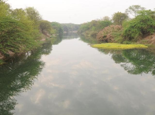 Now filled, the SYL canal earlier where former prime minister late Indra Gandhi laid its foundation stone at Kapuri village near Ghanour Town in Patiala District.