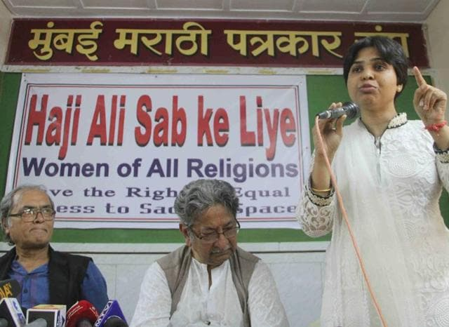 Activist Trupti Desai speaks at the press conference on Wednesday.
