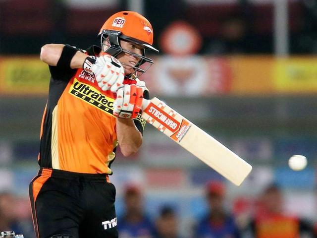 Sunrisers Hyderabad captain David Warner plays a shot.